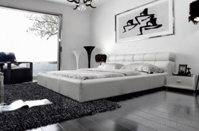 lit en cuir italien de luxe reva, blanc