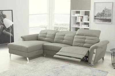 - canapé d'angle avec un relax électrique en cuir de buffle italien de luxe,  5 places beaurelax gris clair, angle gauche