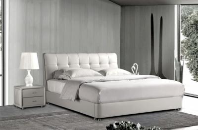 lit design en cuir italien de luxe berta, avec sommier à lattes, blanc, 180x200
