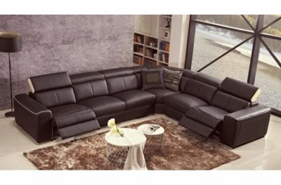 canapé d'angle double relax électrique en cuir de buffle italien de luxe 7/8 places bestrelax, chocolat et beige, angle droit