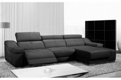 canapé d'angle double relax en cuir de buffle italien de luxe 5 places birelax, noir, angle droit