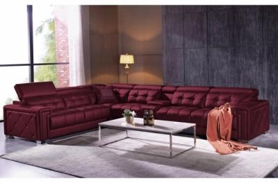 canapé d'angle en cuir de buffle italien de luxe 6/7 places, prestigia, bordeaux, angle gauche