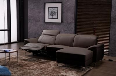 canapé d'angle relax en cuir de buffle italien de luxe 5 places brio, chocolat, angle droit