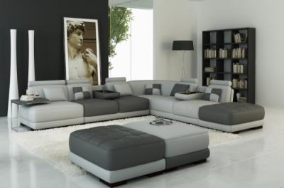 canapé d'angle en cuir italien 7/8 places elixir, gris clair et gris foncé