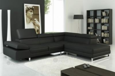 canapé d'angle en cuir italien 5/6 places petit george, noir, angle droit