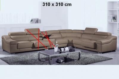 canapé d'angle en cuir buffle italien de luxe londres couleur moka, personnalisé sur mesure, sans bar et une assise en moins, 310x310 cm