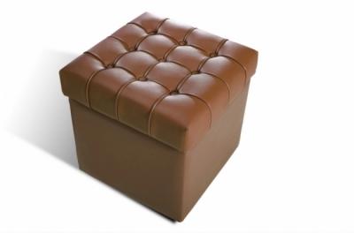 pouf-coffre de rangement de qualité supérieure capito, marron