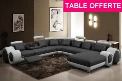 canapé d'angle en cuir italien 8 places carlton, gris foncé et blanc - table ronde  offerte