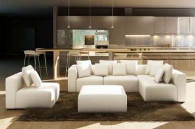 canapé modulable combino cuir prestige luxe, blanc