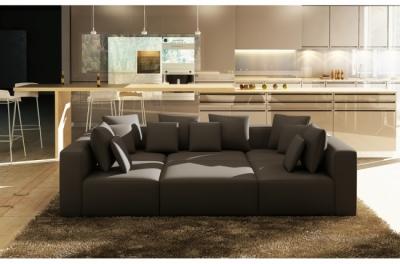 canapé modulable combino cuir prestige luxe, noir