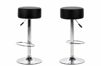 lot de 2 tabourets design en simili cuir noir, dustin