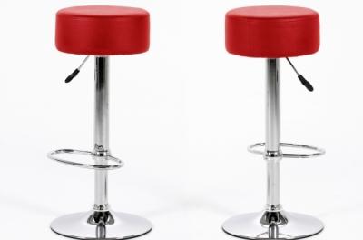 lot de 2 tabourets design en simili cuir rouge, dustin