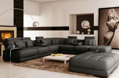canapé d'angle en cuir italien 7/8 places elixir, gris foncé uni, angle droit, petite table bout de canapé offerte + 3 poufs géants