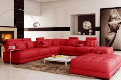 canapé d'angle en cuir italien 7/8 places elixir, rouge uni, angle droit, petite table bout de canapé offerte