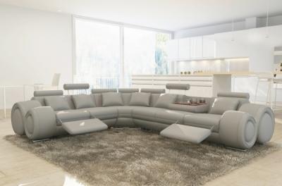 canapé d'angle en cuir italien 5/6 places petit excelia, gris clair
