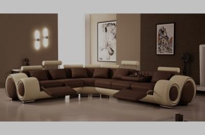 - canapé d'angle en cuir italien 5/6 places petit excelia, chocolat et beige, angle gauche