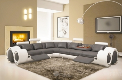canapé d'angle en cuir italien 5/6 places petit excelia, gris foncé et blanc angle gauche
