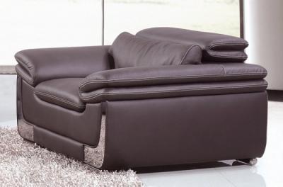fauteuil 1 place en cuir italien buffle italina, chocolat avec surpiqure blanche
