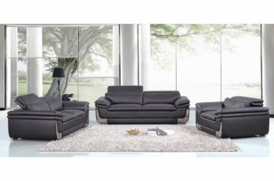 ensemble canapé 3 places et 2 places et fauteuil 1 place en cuir italien buffle italina, noir avec surpiqure blanche