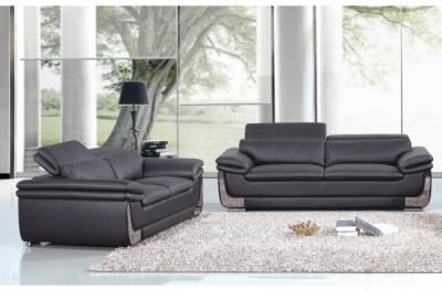 ensemble canapé 3 places et 2 places en cuir italien buffle italina, noir avec surpiqure blanche