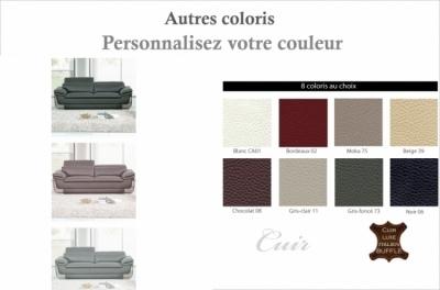 canapé 3 places en cuir italien buffle italina, couleurs personnalisées avec surpiqure