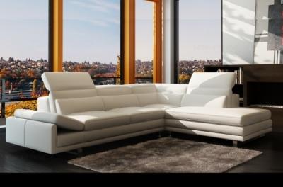 canapé d'angle en cuir italien 6/7 places izen, blanc, version luxe