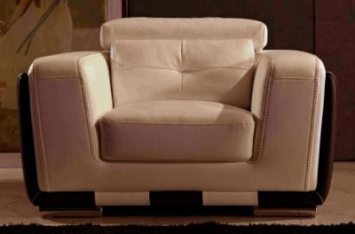 fauteuil 1 place en cuir italien buffle jason, beige et chocolat