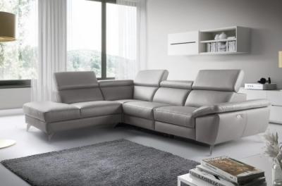canapé d'angle relax en 100% tout cuir épais de luxe italien avec relax électrique, 5/6 places kaster, gris clair, angle gauche