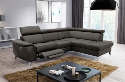 canapé d'angle en cuir italien de luxe 5/6 places avec relax électrique et coffre, lincoln, chocolat, angle droit