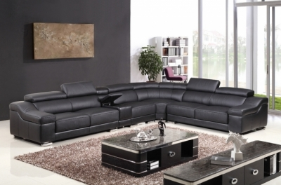 canapé d'angle en cuir buffle italien de luxe 7 places londres, noir, angle droit