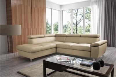 canapé d'angle en cuir italien de luxe 5 places lutece beige, angle gauche