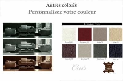 ensemble canapé 3 places et 2 places et fauteuil 1 place en cuir italien buffle luxy, couleur personnalisée