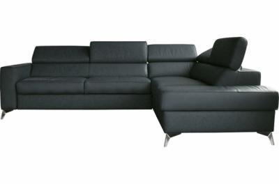 canapé d'angle convertible en cuir italien de luxe 5/6 places avec coffre, monza, gris foncé, angle droit