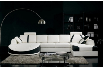 canapé d'angle en cuir italien 7/8 places oscar naples, blanc et noir