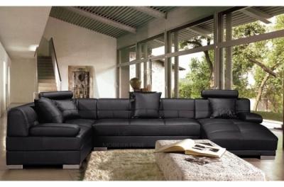 canapé d'angle cuir italien 8 places napoli, noir, angle gauche.