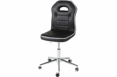 chaise de bureau confortable en simili cuir de qualité penoti, noir