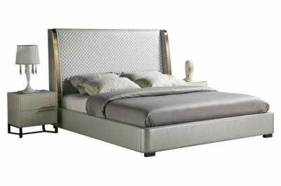 lit design en cuir italien de luxe perfecto, avec sommier à lattes, gris clair pastel, 140x200