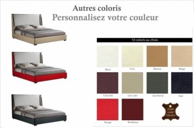 lit design en cuir italien de luxe perfecto, avec sommier à lattes, couleur personnalisée, 140x200