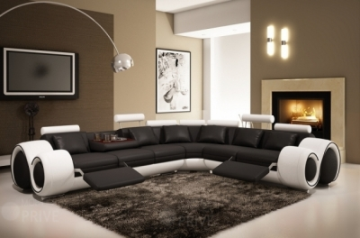canapé d'angle en cuir italien 5/6 places petit excelia, noir et blanc