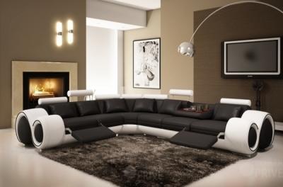 canapé d'angle en cuir italien :  5/6 places petit excelia, noir et blanc, angle gauche