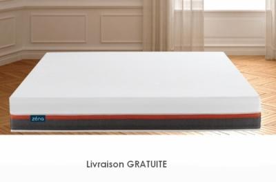 exceptionnel matelas zéna 140x190 avec 4 couches de mousse haute qualité, mémoire de forme + latex et sur-couche, épaisseur 26 cm, matelas haute technologie