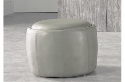 pouf rond buffalino en cuir de buffle (gamme de cuir de buffle), gris clair