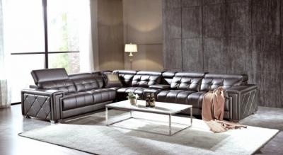 canapé d'angle en cuir de buffle italien de luxe 6/7 places, prestigia, chocolat, angle gauche