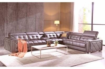 canapé d'angle en cuir de buffle italien de luxe, 6/7 places, prestigia, couleur moka, angle droit