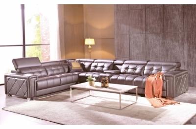 canapé d'angle en cuir de buffle italien de luxe 6/7 places, prestigia, couleur moka, angle gauche