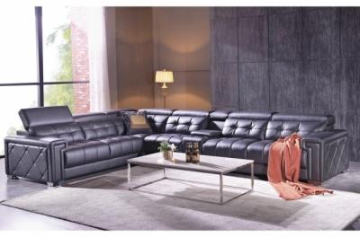 canapé d'angle en cuir de buffle italien de luxe 6/7 places, prestigia, noir, angle gauche