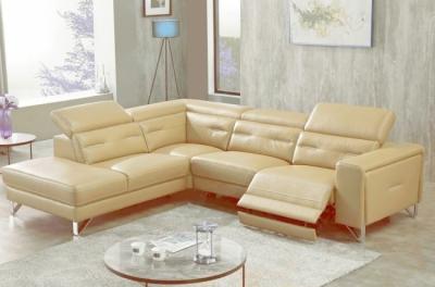 canapé d'angle avec un relax électrique en cuir de buffle italien de luxe 6 places revolax beige, angle gauche,  pouf offert
