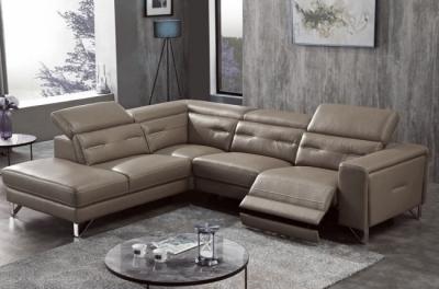 canapé d'angle avec un relax électrique en cuir de buffle italien de luxe 6 places revolax moka et surpiqure moka, angle gauche,  pouf offert
