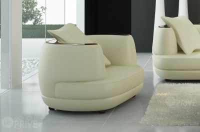 fauteuil 1 place en cuir italien richmond, écru