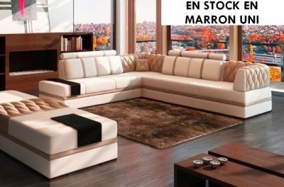 canapé d'angle en cuir italien 6/7 places riva, entièrement marron uni, avec grande banquette marron uni (en stock en marron uni)